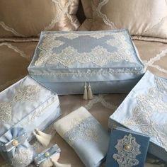 Fransız Dantelli Bohça Seti   Açık Mavi