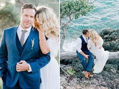 Blue suit. Bride and groom. Bohemian-inspired New Zealand elopement. Dreamy, romantic. Nadia Meli Photography. Location: Waiheke Island, New Zealand
