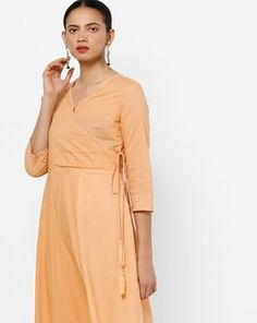 Check out Angrakha Kurta with Tassel Tie-Up  on AJIO! Tied Up, Tassel, Wrap Dress, Peach, High Neck Dress, India, Orange, Check, Shopping