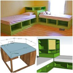 DIY Twin Corner Bed with Storage Good idea for a kids bedroom so they can have sleep overs.