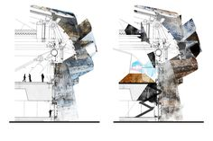 """""""Times+Life Bay Section"""" Petar Mitev. - to express what is going on in our sections Architecture Panel, Architecture Graphics, Architecture Drawings, Architecture Design, Architecture Diagrams, Section Drawing, Collage Drawing, Cad Drawing, Architectural Section"""