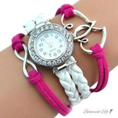 Damen Armbanduhr Herzen mit Strass Kunstleder weiß pink