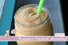 Pumpkin Oatmeal Smoothie Recipe 1/2 cup milk 1/4 cup pureed pumpkin 1/4 cup vanilla yogurt 1/4 cup oats – optional 1 tsp. pumpkin pie spice 1 tsp. cinnamon 1 Tbsp. honey