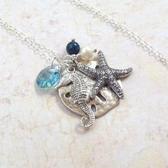 Seahorse Necklace Sand Dollar Necklace by SterlingSimplicity, $24.00