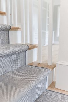 We recently installed this stair runner into a home in Wellesley. This wool herringbone works perfectly with the home interiors. The perfect mix of grey's and blues. Carpet Staircase, Staircase Runner, Staircase Remodel, Staircase Makeover, Grey Stair Carpet, Entryway Runner, Stair Rug Runner, Blue Carpet, Staircase Design
