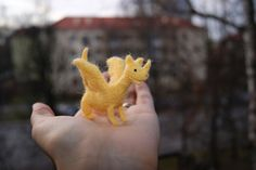 Tiny felted yellow dragon  soft sculpture  miniature by RutaFelt on etsy.
