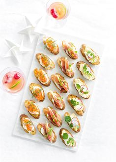 A beautiful platter of canapés to go with your festive beverages!