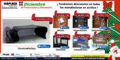 Diciembre de Promociones y Descuentos en materiales de Acrílico  Sitio Web: http://maplasa.com/promociones.php O llámenos al número: +52(614) 410-5822