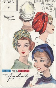 "1953 Vintage VOGUE Sewing Pattern HAT S23"" (1144) By GUY LAROCHE #VoguebyGUYLAROCHE"