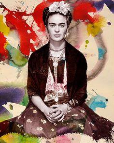 Frida Khalo by Purple Cow Posters Diego Rivera, Frida E Diego, Frida Art, Mexican Artists, Mexican Folk Art, Purple Cow, Kunst Online, Modern Pop Art, Pop Art Posters