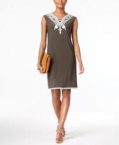 Alfani Soutache-Trim Shift Dress, Created for Macy's | macys.com
