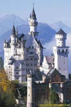 Neuschwanstein Castle,  Above the village of Hohenschwangau, Bavaria, Germany....     http://www.castlesandmanorhouses.com/photos.htm    ...    Neuschwanstein Castle (Schloss Neuschwanstein), is a nineteenth-century Romanesque Revival palace. It was commissioned by King Ludwig II of Bavaria. The palace has appeared prominently in several movies and was the main inspiration for Disney's Sleeping Beauty Castle.