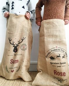 hottes de Noël d'A-qui-S Hottes, Creations, Christmas Gifts, Tote Bag, Kids, French, Coffee, Fashion, Jute