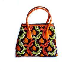 African Fabric Handbag Print Brown Tote Large Purse