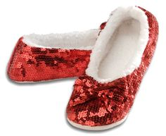 awesome Snoozies Women's Ballerina Metallic Shine Sequin Slippers
