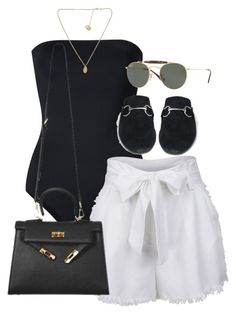 A fashion look from August 2017 featuring twill shorts, one piece swimwear and slip-on shoes. Browse and shop related looks. Edgy Outfits, Classy Outfits, Summer Outfits, Fashion Outfits, Fashion Trends, Fashion Tips, Look Fashion, Korean Fashion, Mode Rockabilly