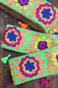"Neon Garden Blossom: Bright Floral Embroidered Silk Trim, Ribbon, Sari Border, India 3""x1 Yard, Summer Garden Flowers, Craft, Sewing Supply"