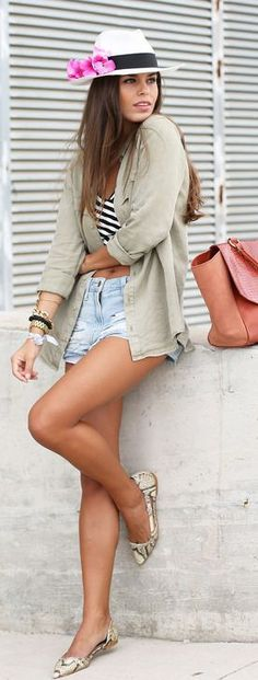 Add a button-up top to your shorts and t-shirt for a cute Fall look!