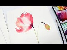 [LVL2] Poppy Watercolor Painting for Beginners #2 - YouTube