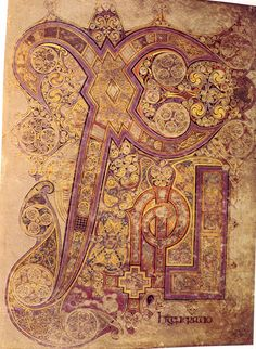 Book of Kells.  The Chi-Rho monogram. 12th century.  The Chi-Rho monograms forms an abbreviation of the name of Jesus, one of the earliest Christograms.