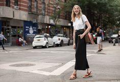 laura stoloff wears pants: Proenza Schouler; shoes: Dries Van Noten; tee: Aritzia; scarf: vintage.