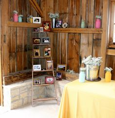 vintage wedding, barn wedding, picture display, wooden ladder, guest table, sea foam green, pink, yellow, baby's breath