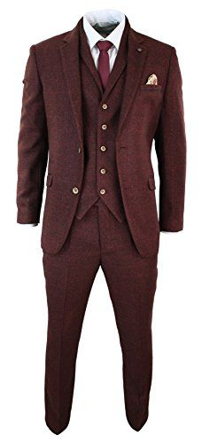 Mens Wine Maroon Check Herringbone Tweed Vintage Tailored Fit 3 Piece Suit Smart Complete With Blazer, Waistcoat & Trouser Tweed Textured Check Fabric With Contrasting Trim Tailored Fit Design (Inbetween Slim & Regular Fit), Great For All Formal Occasions Such as Weddings, Proms & Parties! www.discountweddingshop.co.uk/