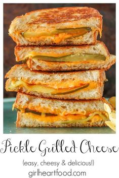 If you're a fan of pickles and grilled cheese sandwiches, this pickle grilled cheese sandwich is a must try! With thinly sliced pickle, dill and plenty of melty cheddar cheese, it's incredibly delicious! #gourmetgrilledcheese #picklegrilledcheese #grilledcheesesandwich #grilledcheesewithpickle #cheddargrilledcheese #grilledcheesewithcheddar #cheesysandwich #picklesandwich Best Sandwich Recipes, Lunch Recipes, Breakfast Recipes, Sandwich Ideas, Quesadilla Recipes, Burger Recipes, Recipes Dinner, Appetizer Sandwiches, Delicious Sandwiches