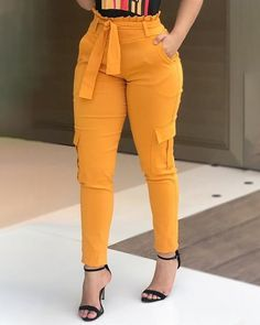 Shop High Waist Paperbag Waist Casual Pants right now, get great deals at joyshoetique. Trend Fashion, Look Fashion, Fashion Pants, Fashion Outfits, Womens Fashion, Estilo Fashion, Fashion 2017, Fashion Styles, Vetement Fashion