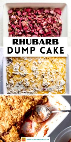 Rhubarb dump cake is one of the easiest springtime desserts you can make, using cake mix and a handful of other SIMPLE ingredients in a few EASY steps! #SundaySupper #rhubarb #recipe #easyrecipe #rhubarbrecipe #rhubarbdessert #desserts #dessertrecipe #dumpcake #easydessert #cakemix Easy Rhubarb Recipes, Rhubarb Desserts, Rhubarb Cake, Fun Desserts, Delicious Desserts, Dump Cakes, Dump Cake Recipes, Sweets Recipes, Rubarb Dump Cake