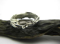 Silver twig stack ring, olive branch stacking ring in sterling silver size 5,5 - 10