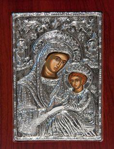 Virgin Mary & Jesus Christ Byzantine Silver Icon 950 by selon, $70.00