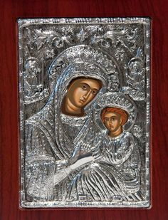 Virgin Mary & Jesus Christ Byzantine Silver Icon 950 by selon, $70.00