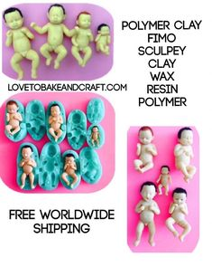These molds moulds are perfect for Polymer clay Fimo Sculpey Wax Clay and other art Polymer Clay Fairy, Sculpey Clay, Polymer Clay Figures, Polymer Clay Dolls, Polymer Clay Miniatures, Biscuit, Baby Mold, Cake Topper Tutorial, Clay Fairies