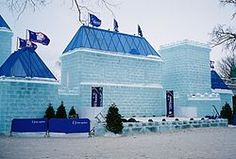 A picture of an ice castle during the Quebec Winter Carnival of 2009.