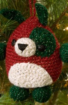 "Puppy Ornament - Free Amigurumi Pattern - PDF Format - click ""Download Printable Instructions"" here: http://www.redheart.com/free-patterns/puppy-ornament"