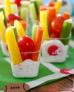Veggie Dip Cups are the perfect bite-size portions for game day. Easy to make and a great way to get those veggies in with yummy dip!