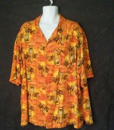 George Orange  amp Yellow Shirt 100% Rayon 3XL Hawaiian Short Sleeve Beer  Shirt   5403e2266