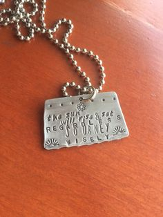 Gone cow tippin hand stamped pendant jewelry necklace country farm hand stamped metal the sun will rise and set regardless journey wisely hand made jewelry with mozeypictures Gallery
