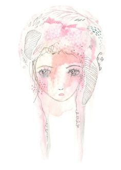 Pink girl print melancholy whimsical girl by Coramantic on Etsy