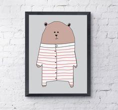 Niedźwiedź w pidżamie - Szare-Kropki - Plakaty dla dzieci