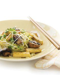 Honeyed Tofu on Udon with Cucumber Ribbons