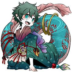 BnHA characters as Japanese mythical creatures (youkai): Izuku Midoriya. Boku No Hero Academia, My Hero Academia Memes, Hero Academia Characters, My Hero Academia Manga, Manga Anime, Anime Boys, Creature Drawings, Animal Drawings, Japanese Mythical Creatures