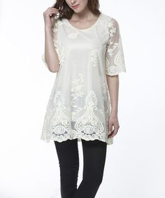 Simply Couture Beige Crocheted Damask Tunic | zulily