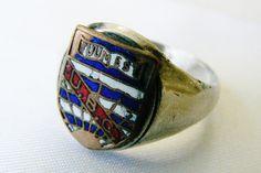 Vtg Sterling Silver Enamel Coat of Arms Shield Logo Tuum Est U B C Ring 10 25 | eBay