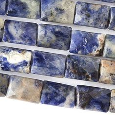 """Sodalite, 10x14mm Faceted Rectangles, 8"""" Strand, 7SO62-0001"""