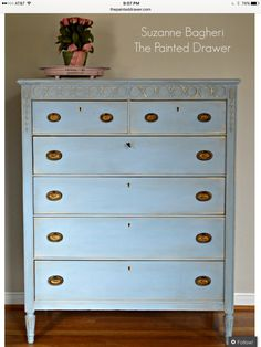 Louis Blue Vintage Dresser Before and After - May 25 2019 at Blue Painted Furniture, Distressed Furniture, Repurposed Furniture, Home Decor Furniture, Shabby Chic Furniture, Furniture Ideas, Furniture Stores, Refinished Furniture, Furniture Refinishing