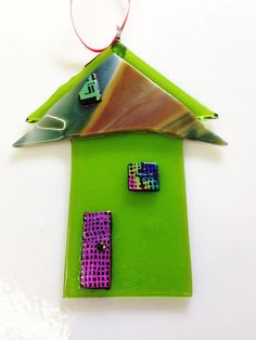 Handmade Green Fused Glass House Ornament/Suncatcher w/Dichroic Accents