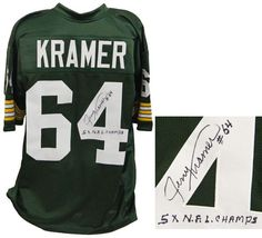 Jerry Kramer Green Bay Packers Signed Green Throwback Custom Football Jersey w/5x NFL Champs - Schwartz COA