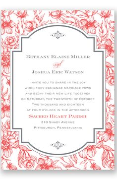 Toile Botanical Letterpress Wedding Invitation by David's Bridal | Follow us and start pinning pretty paper options - from invitations and save the dates to programs and table numbers - for a chance to win $1,000 to InvitationsbyDavidsBridal.com. Enter here: http://sweeps.piqora.com/rsvpready